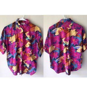 Vintage 90s Hip Hop Floral Button Down Shirt