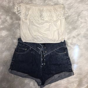 Strapless Crop Top with Lace Detail