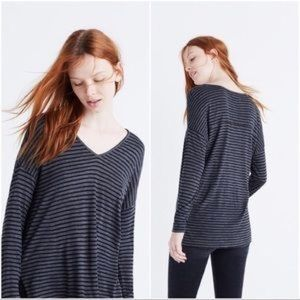 Madewell Long sleeved V Neck Striped Tee Large L