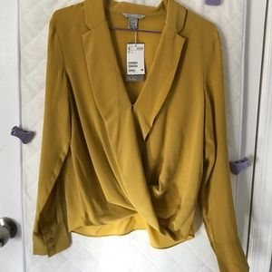 NWT Silk Mustard-Yellow H&M Top