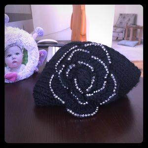 Sparkle floral black head wrap