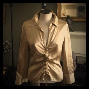 BCBG  Maxazria gold silk stretch blouse
