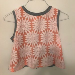 Salmon crop too with floral lace overlay
