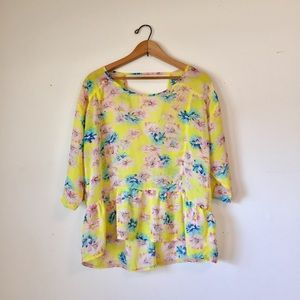 Bright yellow floral keyhole back peplum blouse