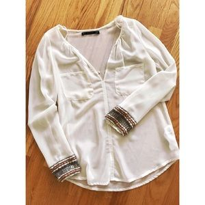 ZARA BLOUSE WITH BEADED DETAILS