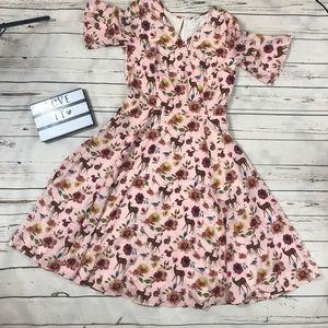 Eshakti custom dress. Pink floral, deer & rabbits