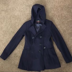 Miss Sixty Wool Hooded Peacoat Size Small