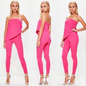Pink Bandeau Asymmetric Layer Jumpsuit