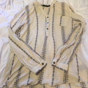 cream and grey/black basic blouse