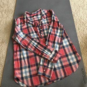 J Crew Factory plaid popover shirt
