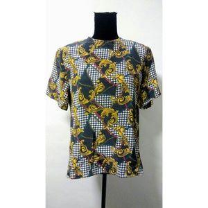 Vintage 80's glam print shirt party blouse