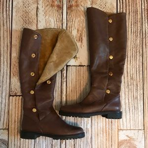 Michael Kors shearling brown leather boots 6M