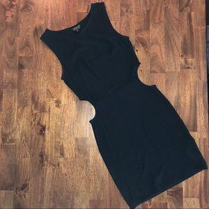 Topshop textured nylon cut out LBD dress black 2