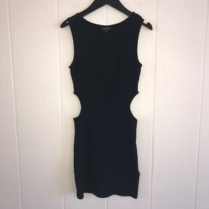 Topshop textured nylon cut out LBD dress black 2