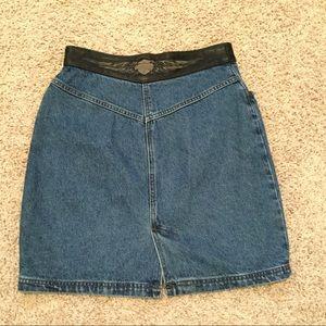 Harley Davidson Leather Trim Jean Skirt