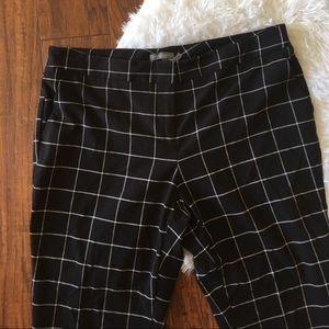 Vince Camuto Windowpane Plaid Black Straight Pants