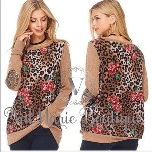 Cheetah Rose Sequin Top