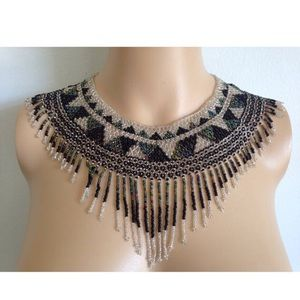 1970s Huge Beaded Tribal Indian Collar Necklace