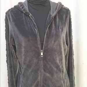 BURBERRY BRIT Gray Velour Hoodie Sz Large