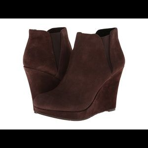 JESSICA SIMPSON Brown Suede Wedge Booties Size 9