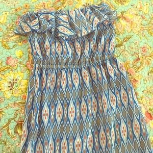 Patterned strapless maxi