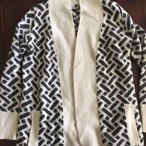 Thick ivory and gray open front cardigan