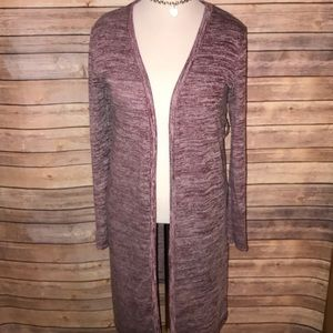 Marled Burgundy Long Open Duster Sweater