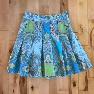 J. Crew Paisley Print Pleated Skirt