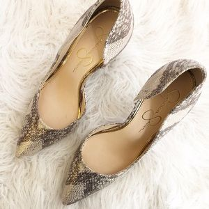 Jessica Simpson Snake Skin Heels Shoes 7M gold