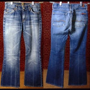 7 FOR ALL MANKIND med blue denim flare jean 27
