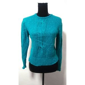 Vintage 80's green party glam sweater top blouse