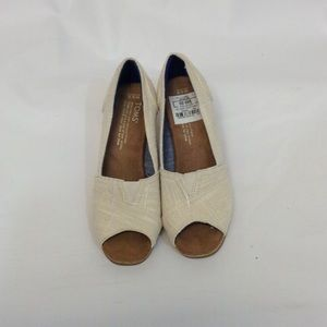 Cream Toms Wedges Size 5.5