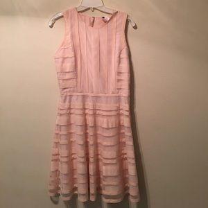 Parker pink horizontal diagonal striping dress L