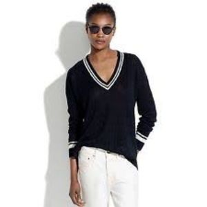 Madewell Linen V-Neck Varsity Cable Knit Sweater
