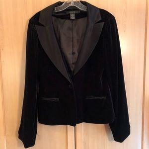 Arden B. black velvet tuxedo style jacket