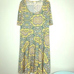 Lularoe Nicole Dress Size 3xl Aqua gold Gray