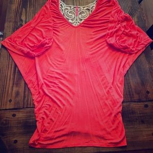 Salmon colored lace top