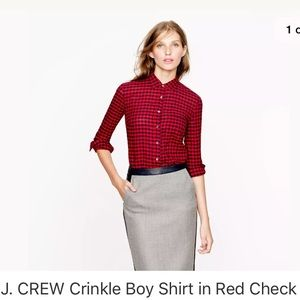 J. Crew Crinkle Boy Shirt in Red Check