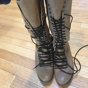 Leather military boots