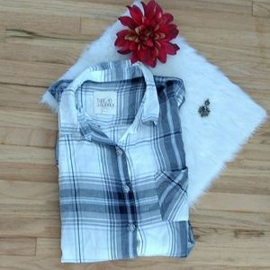Tops - Thread & Supply | Blue and White Button Plaid Top