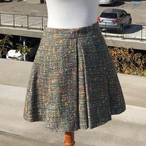 Trina Turk Pleated Multi Colored Boucle Skirt