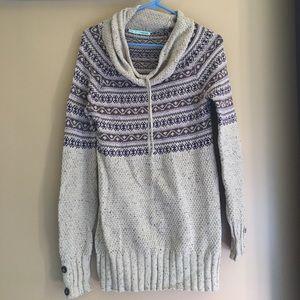 Fair Isle Cowl Neck Tunic Sweater