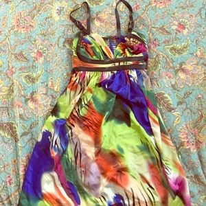 Multi colored dress with leather detail!