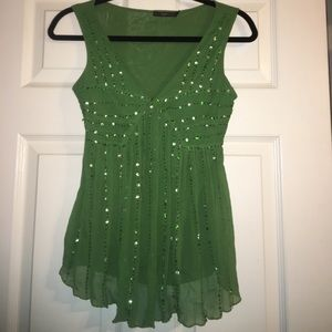Emerald green sequin dress top