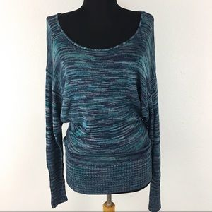 Lucky Brand Marled Blue Dolman Sweater Med