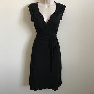 Black Sheer Banana Republic Wrap Dress petite XS