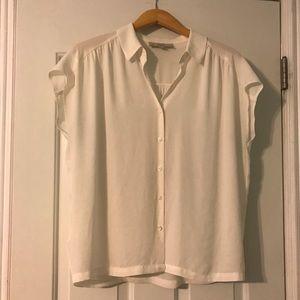 LOFT Drapey Dress Top Cream Medium M