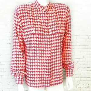 {Vintage} 90s Liz Claiborne Red Pixel Blouse Shirt