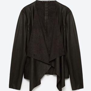 Zara Draped Leather Jacket NWT