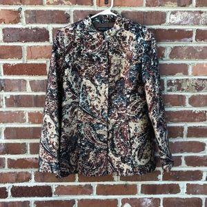 Lafayette 148 Metallic Jacket Blazer 6 Silk Wool